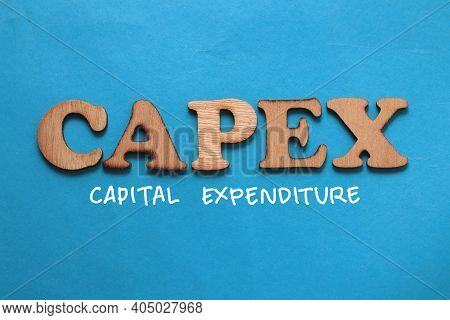 Capex Capital Expenditure, Text Words Typography Written On Blue Background, Life And Business Motiv
