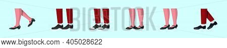 Set Of Tap Shoes Cartoon Icon Design Template With Various Models. Modern Vector Illustration Isolat