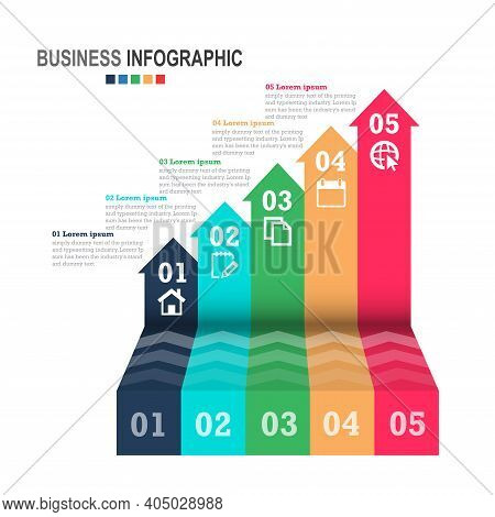 Infographics Business Template 3d Stairs With Arrow, Steps For Presentation, Sale Forecast, Web Desi