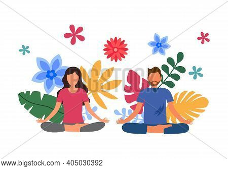 Man And Woman Doing Meditation For Relaxation And Good Health With Colorful Leaves On Background. Yo