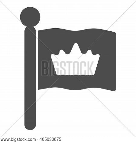 King Flag Solid Icon, Fairytale Concept, Monarch Heraldic Emblem Sign On White Background, Flag With