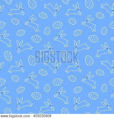 Outline Pattern With White Easter Bunnies And Eggs. Vector Pattern On A Blue Background. Easter Draw