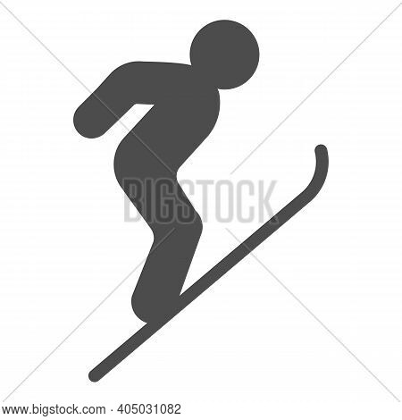 Flying Skier Solid Icon, Winter Season Concept, Ski Jumper Sign On White Background, Ski Jumping Sil