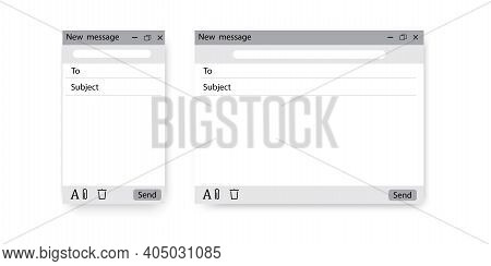 New Message Screen. Social Media Vector Illustration. Email Interface. Smartphone Blank Screen. Stoc