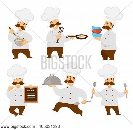 Chief Or Cook In Uniform Menu Board And Cooker Pizza
