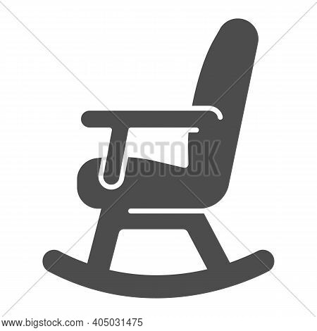 Rocking Chair Solid Icon, Winter Season Concept, Rocker Sign On White Background, Chair Rocking Furn