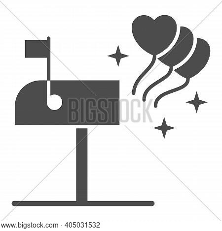 Mailbox With Hearts Solid Icon, Valentines Day Concept, Love Letterbox Sign On White Background, Ope
