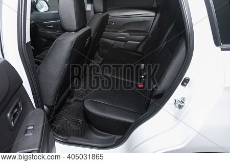 Novosibirsk, Russia - January 14 2021:  Mitsubishi Asx, Comfort Car Inside. Clean Car Interior: Blac