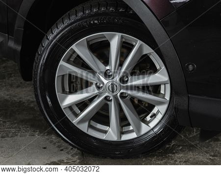 Novosibirsk, Russia - January 14 2021:  Nissan Qashqai, Close-up Of The Alloy Wheel. Photography Of