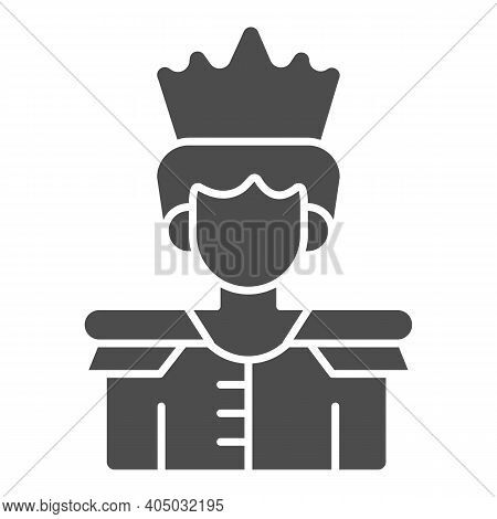 Prince Solid Icon, Fairytale Concept, King Sign On White Background, Prince With A Crown Icon In Gly
