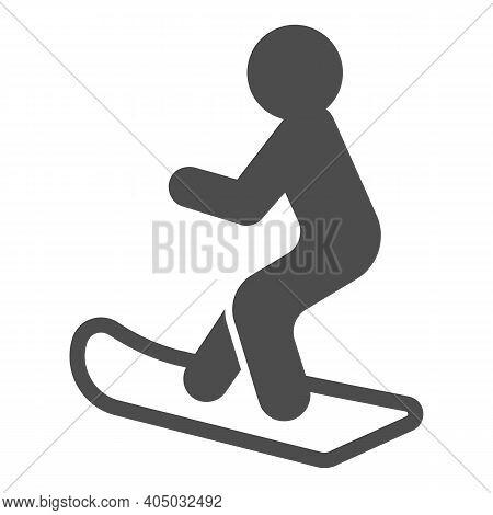 Snowboarder Solid Icon, Winter Season Concept, Man Snowboarding Sign On White Background, Man Silhou