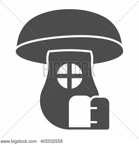 Mushroom House Solid Icon, Fairytale Concept, Hobbit House In Form Of Mushroom Sign On White Backgro