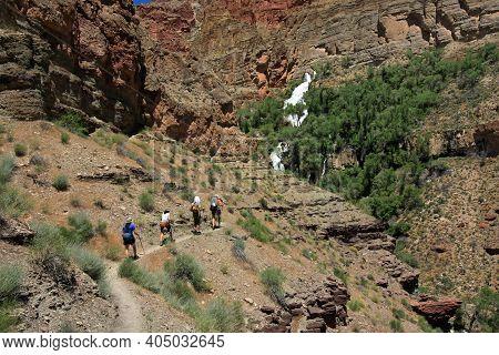 Grand Canyon, Arizona 05-20-2010 Backpackers Ascend Thunder River Trail Toward Source Of Thunder Riv
