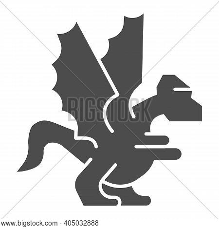 Dragon Solid Icon, Fairytale Concept, Mystery Mythical Creature Sign On White Background, Dragon Fan