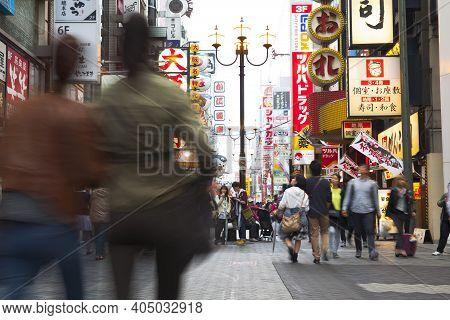 Osaka,japan - April 20 : Tourists Visit Dotonbori On April 20,2015 In Osaka. It Is One Of The Touris