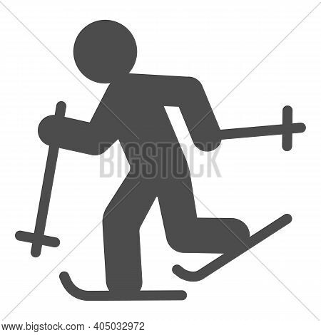 Running Skier Solid Icon, Winter Season Concept, Cross-country Skiing Sign On White Background, Skie