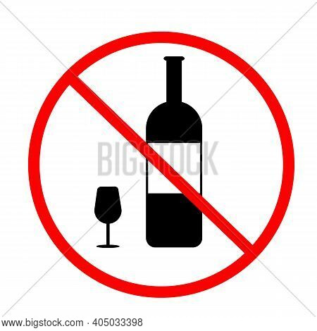No Alcohol Icon On White Background. Flat Style. No Drinking Sign. Forbidden Symbol Simple. No Alcoh