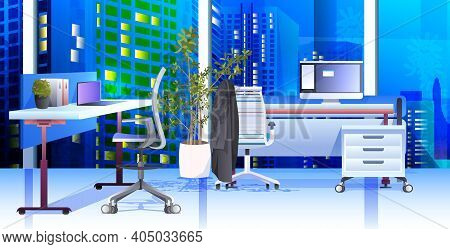 Modern Cabinet Interior Office Room With Furniture Horizontal Vector Illustration