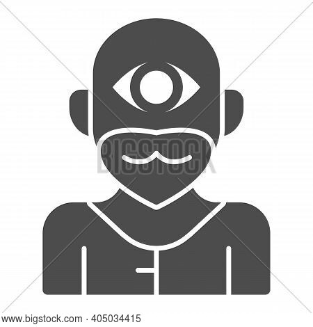 Cyclops Monster Solid Icon, Fairytale Concept, Mythical Creature With One Eye Sign On White Backgrou