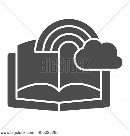 Book With Rainbow And Cloud Solid Icon, Fairytale Concept, Book With Fairy Tale Sign On White Backgr