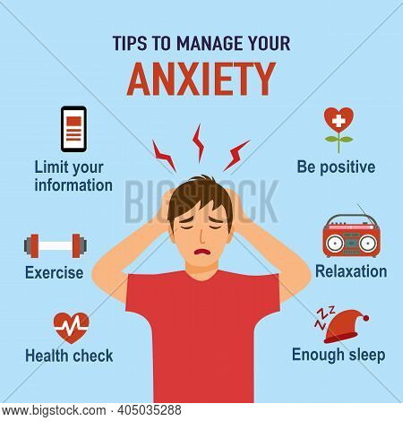 Tips For Anxiety Management Infographic. Man With Anxiety Disorder With Useful Advice In Flat Design
