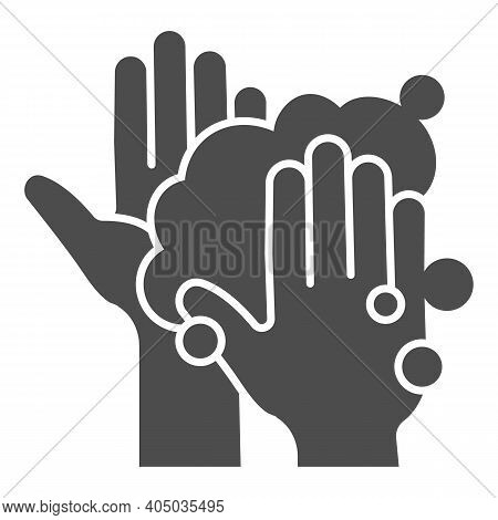 Hands In Soapy Foam Solid Icon, Corona Downturn Concept, Hand Wash Sign On White Background, Hygiene