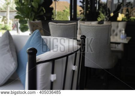 Opened Air Resort Restuarant With Green Plants, Stock Photo