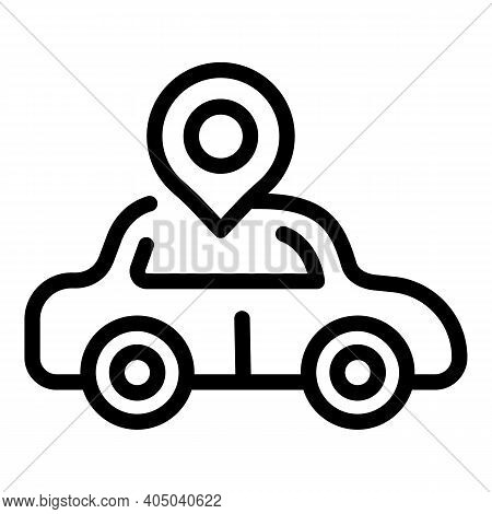 Rental Car Icon. Outline Rental Car Vector Icon For Web Design Isolated On White Background