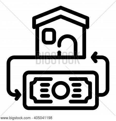 Money House Rent Icon. Outline Money House Rent Vector Icon For Web Design Isolated On White Backgro