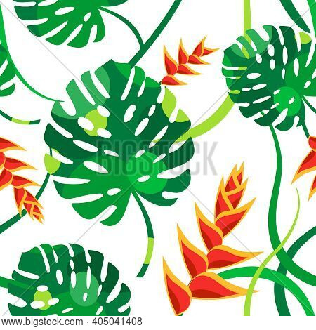Seamless Vector Pattern With Tropical Flowers And Leaves. Green Monstera Leaves, Red Heliconia Flowe
