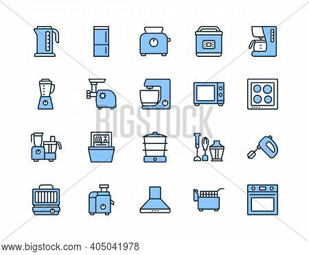 Kitchen Appliances Line Icon Set Blue Color. Vector Illustration Household Equipment For Cooking. Ed