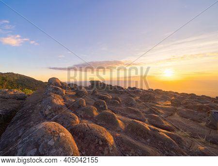 Dry Rocks Stone In Lan Hin Pum, Phu Hin Rong Kla National Park, Phitsanulok Province, Thailand. Moun