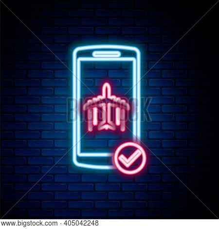 Glowing Neon Line Flight Mode In The Mobile Phone Icon Isolated On Brick Wall Background. Airplane O