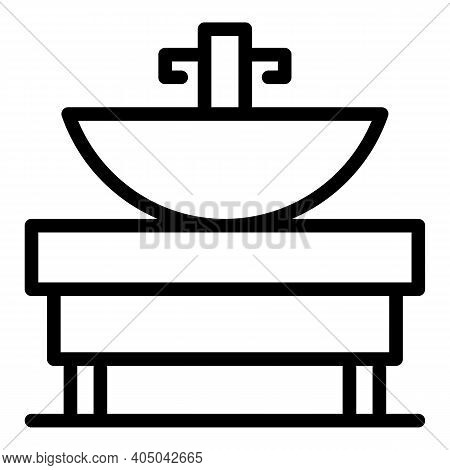 Bath Sink System Icon. Outline Bath Sink System Vector Icon For Web Design Isolated On White Backgro
