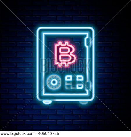 Glowing Neon Line Proof Of Stake Icon Isolated On Brick Wall Background. Cryptocurrency Economy And