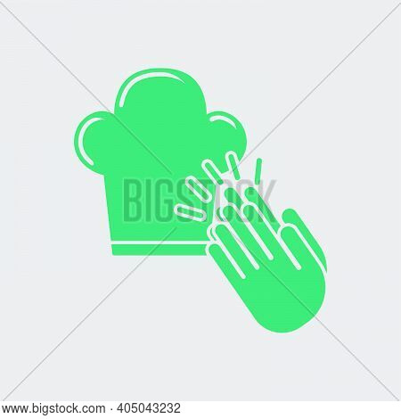 Clapping Palms To Toque Icon. Green On Gray Background. Vector Illustration.