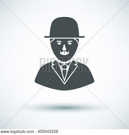 Detective Icon. Dark Gray On Gray Background With Round Shadow. Vector Illustration.
