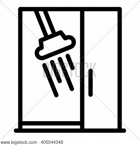 Home Shower Stall Icon. Outline Home Shower Stall Vector Icon For Web Design Isolated On White Backg