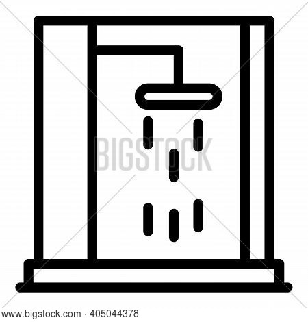 Plastic Shower Stall Icon. Outline Plastic Shower Stall Vector Icon For Web Design Isolated On White
