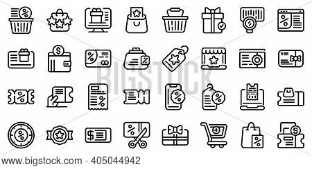 Online Voucher Icons Set. Outline Set Of Online Voucher Vector Icons For Web Design Isolated On Whit