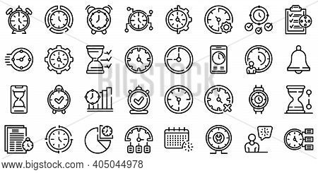 Time Management Icons Set. Outline Set Of Time Management Vector Icons For Web Design Isolated On Wh