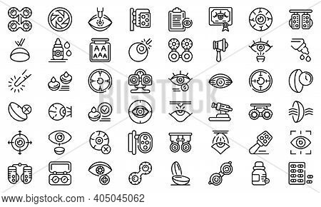 Optometry Icons Set. Outline Set Of Optometry Vector Icons For Web Design Isolated On White Backgrou