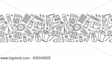 Meds, Drugs, Pills, Bottles And Health Care Medical Elements. Vector Illustration In Doodle Style On
