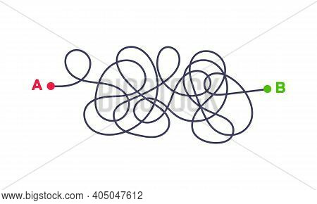 Complex Way From Point A To B Vector Illustration. Chaos Simplifying, Problem Solving And Business S