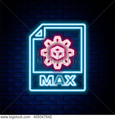 Glowing Neon Line Max File Document. Download Max Button Icon Isolated On Brick Wall Background. Max