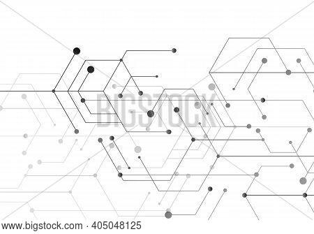 Hexagon Technology Connect For Web Design. Abstract Modern Backdrop. Creative Vector Concept. High T