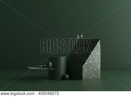 Contemporary Modern Abstract Composition In Dark Green Tones With Golden Terrazzo And Glass. Trendy
