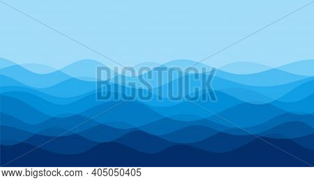Blue Water Wave Line Deep Sea Pattern Background Vector Illustration.