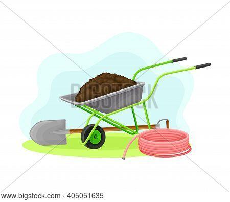 Garden Tools And Equipment With Wheelbarrow, Spade And Hose Vector Composition