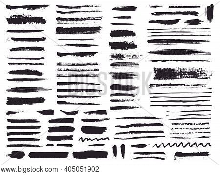Paint Brush Strokes And Grunge Stains Isolated On White Background. Vector Design Elements For Paint